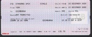 York至Edinburgh的車票